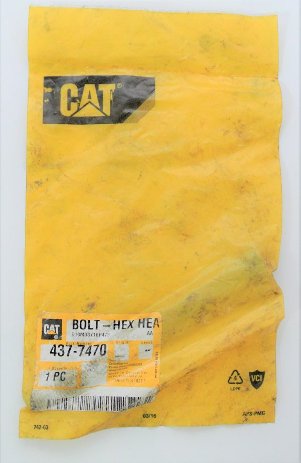 Болт для Caterpiller (Катерпиллер), номер запчасти 437-7470, 4377470